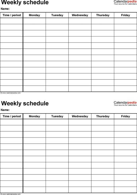 weekly schedule templates word templates