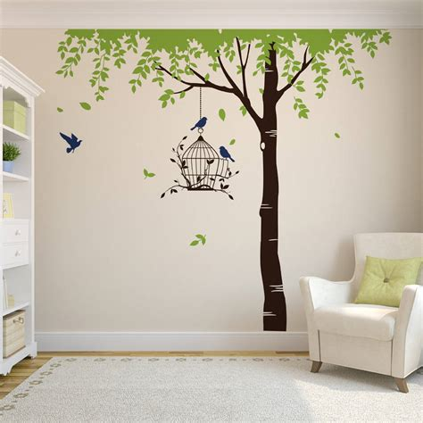 Summer Tree With Bird Cage Wall Stickers By Parkins