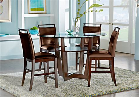 Rooms To Go Dining Tables - ciara espresso brown 5 pc counter height dining set
