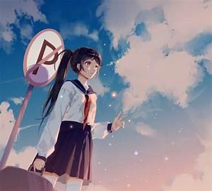 Wallpaper, Anime, Girls, Original, Characters, Sky, Clouds, Long, Hair, Ponytail, Black, Hair