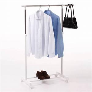 Portant Vetement Blanc : portant v tement 1 barre extensible blanc ~ Teatrodelosmanantiales.com Idées de Décoration