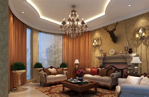 luxury living room interior design ceiling decoration sofa 3d house