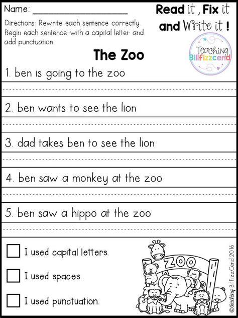 free fix it up sentences reading k 2 first grade
