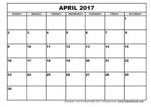 April 2017 Calendar Printable 8 X 11
