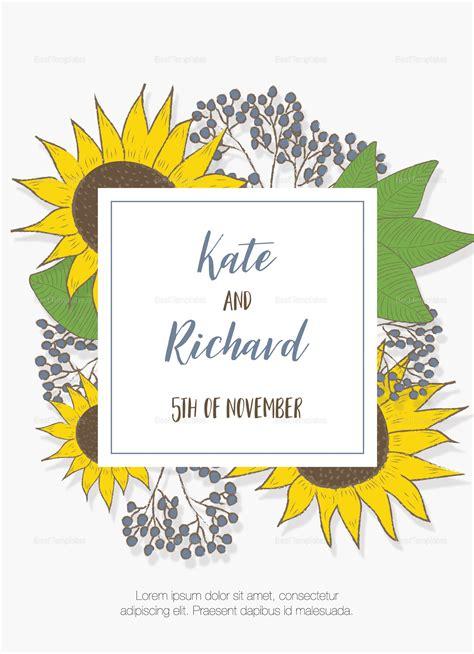 lovely sunflower wedding invitation design template  psd
