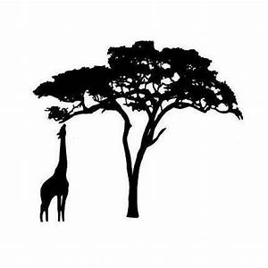 GIRAFFE and ACACIA TREE Silhouette Um African rubber stamp ...