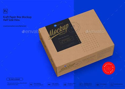 Includes special layers and smart objects for your creative works. Kraft Paper Box Mockup Half Side View by _Reformer_ ...
