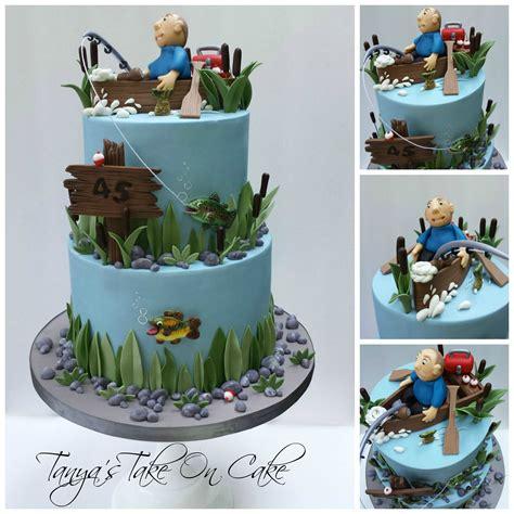 Man In Fishing Boat Cake Topper by Gone Fishing Birthday Cake Fishing Themed Birthday Cake