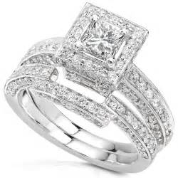 cheap real wedding ring sets 1 cheap 1 1 4ctw princess wedding rings set in 14kt white gold for sale promotion