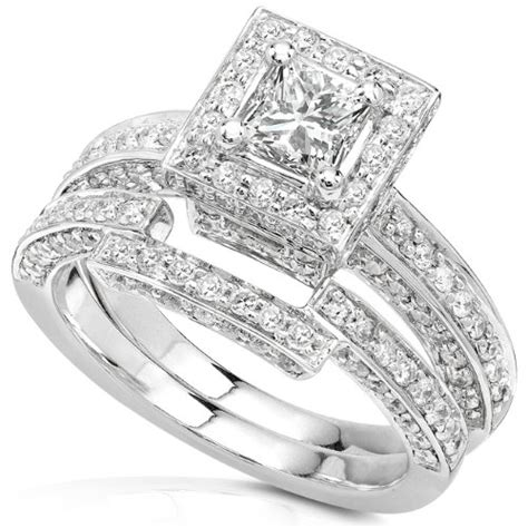 1 cheap 1 1 4ctw princess wedding rings in 14kt white gold for sale promotion