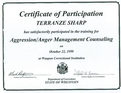 Anger Management Certificate Template by Second Chance For Juvenile Offenders April 2010