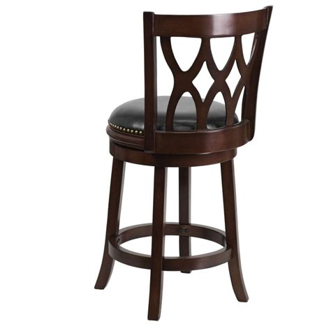 mfo 24 cappuccino wood counter height stool with black