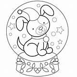 Coloring Snow Snowglobe Globe Globes Dog Neve Globo Puppy Schneekugeln Printable Winter Sheets Nieve Bola Malvorlagen Bestcoloringpagesforkids Desenho Penguin Noel sketch template