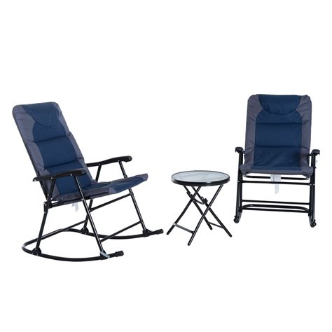 folding outdoor rocking chair model outsunny 3 outdoor folding rocking chair and table
