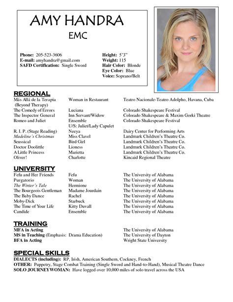 acting resume sle free http www resumecareer info