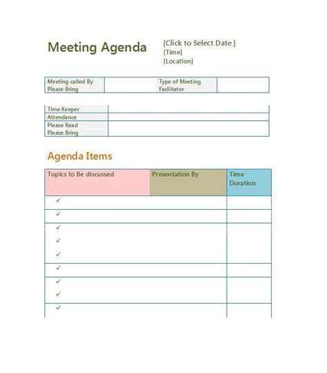 effective meeting agenda templates  template