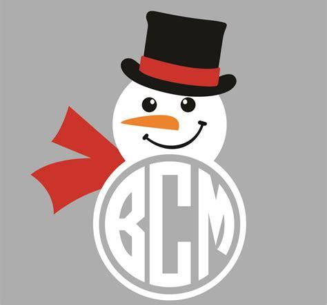 snowman monogram cuttable frame