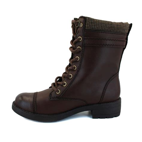 womens brown leather biker boots rocket dog thunder womens laced synthetic leather biker boots