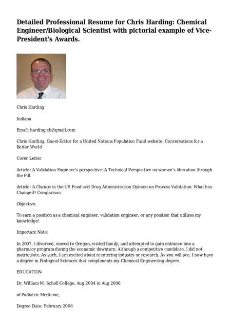 detailed professional resume for chris harding chemical