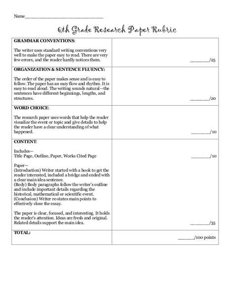 grade research paper rubric