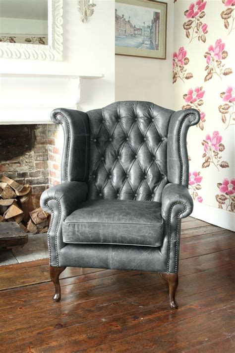 chesterfield queen anne high  wing chair  vintage