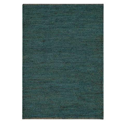 tapis naturel en jute bleu tisse  la main