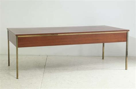 brass desk l large executive desk with brass frame by florence knoll