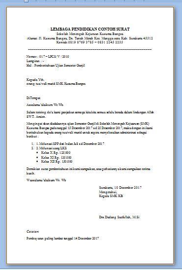 contoh surat pemberitahuan ujian semester sekolah