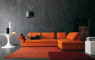 orange livingroom decorating ideas orange sofa in living room freshnist