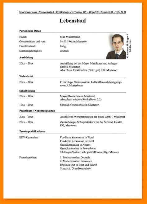 Lebenslauf Muster Ausbildung by 10 Lebenslauf F 252 R Ausbildung Real Mofscotland