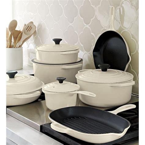 creuset le cookware cream enamel iron cast crate barrel signature sets enameled french kitchen exclusive pan oven saucepan pots skillet