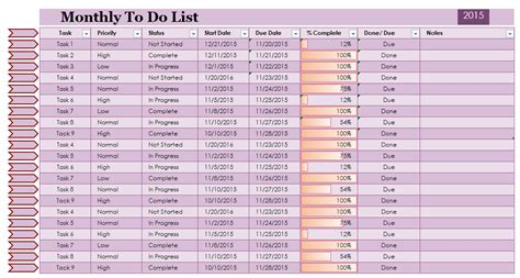 excel to do list template monthly to do list template excel to do list template