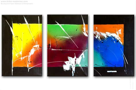 peinture et decoration chambre triptyque contemporain panoramique multicolore tendance