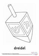 Dreidel Colouring Hanukkah Pages sketch template