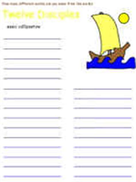 twelve disciples printable activity sheets