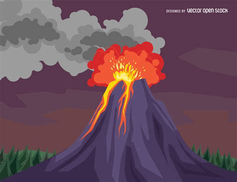 volcano eruption drawing vector