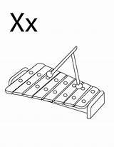Coloring Xylophone Instrument Letter Musikinstrument Alphabet Instruments Ausmalbilder Musical Preschool Popular Muziek Tareas Kleurplaten Guardado Desde sketch template