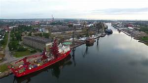 Aerial Of Large Container Terminal And Ships In The Harbor ...