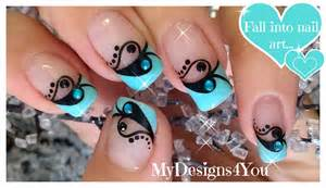 Image of: Valentine 39 Day Nail Art Blue Black French Disen De N San Valenti Youtube Blue Nail Designs To Beauty Your Nails