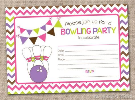 printable girls bowling party invitation fill   blank