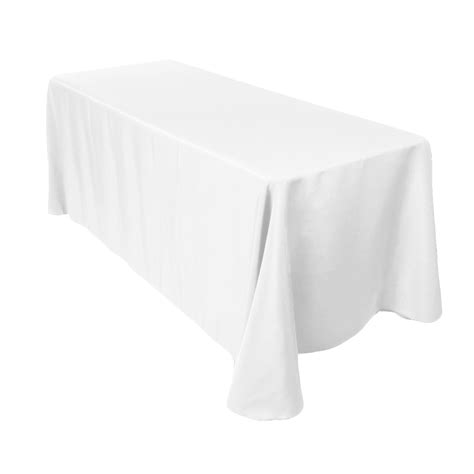 tablecloth for 8 foot rectangular table 90 x 156 inch rectangular polyester tablecloth white on a