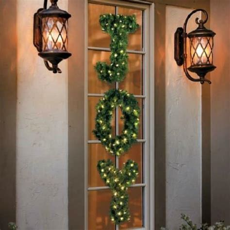 cordless outdoor decorations sale outdoor lighted cordless hanging letters greenery