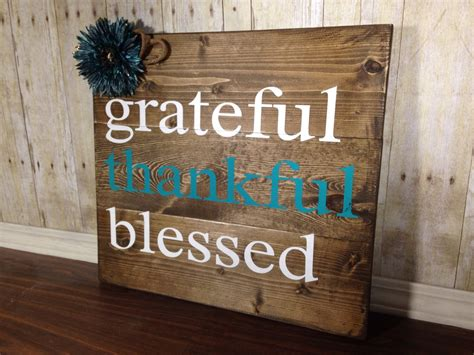grateful thankful blessed sign rustic home decor teal rustic