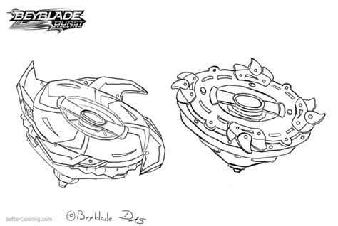 Beyblade Burst Coloring Pages Two Beyblades