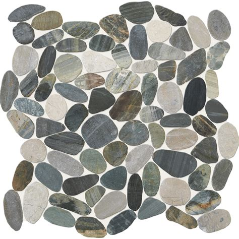 pebble mosaic tile shop american olean delfino stone paradise blend pebble mosaic floor and wall tile common 12