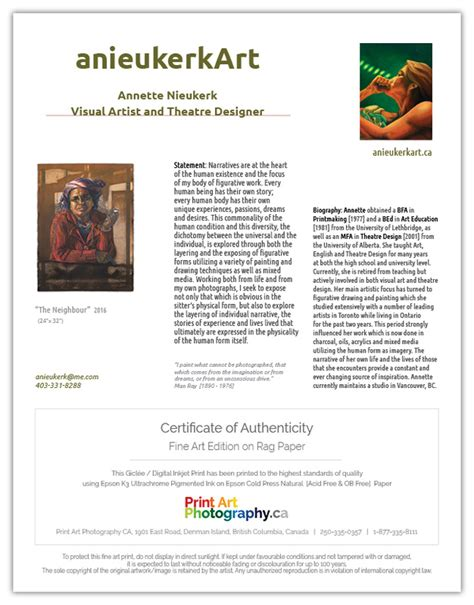 certificate  authenticity print art photography ca