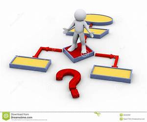 3d Confused Man On Flow Chart Stock Illustration