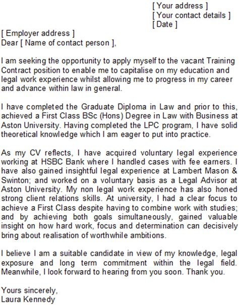 training contract cover letter sample