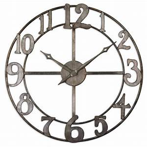 Uttermost delevan large wall clock with open design 06681 for Best brand of paint for kitchen cabinets with metal wall clock art