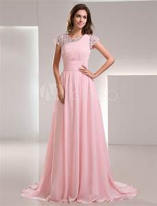 sweet pink chiffon lace jewel neck fashion evening dress With robe rose pale dentelle